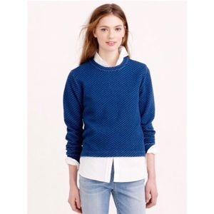 J. Crew Quilted Indigo Pullover Sweatshirt